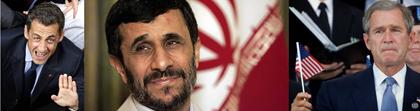 sarkozy, ahmadinejad, bush, president, politics, war, bomb
