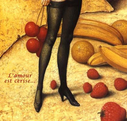 verlinde, amour, cerise, love, painting, cherries, woman