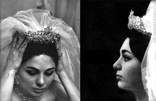 farah diba pahlavi micheleroohani crown bride tiara