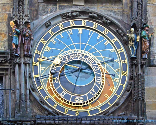 astronomical clock prague michele roohani early morning sun
