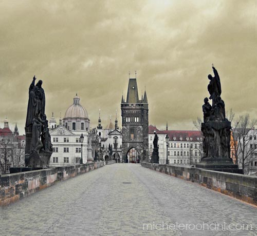 michele roohani charles bridge prague early morning