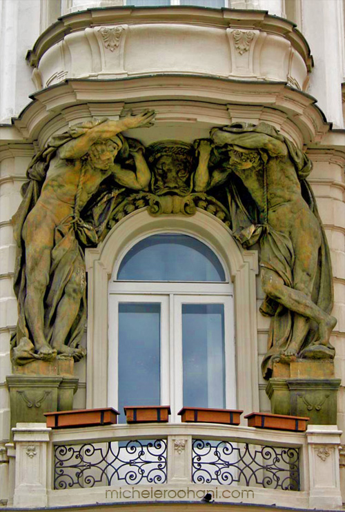 michele roohani caryatids prague balcony