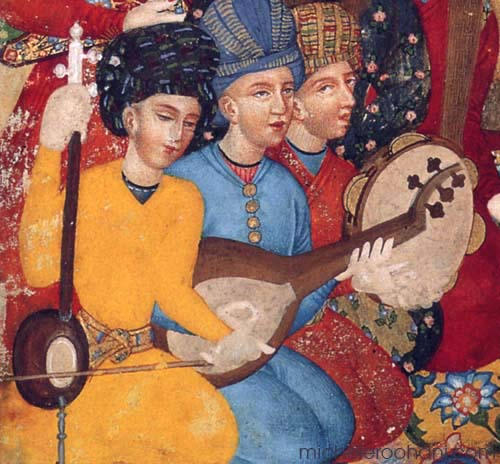 Shah Abbas and ambassador(detail) agha khan colllection ca 1790 michele roohani