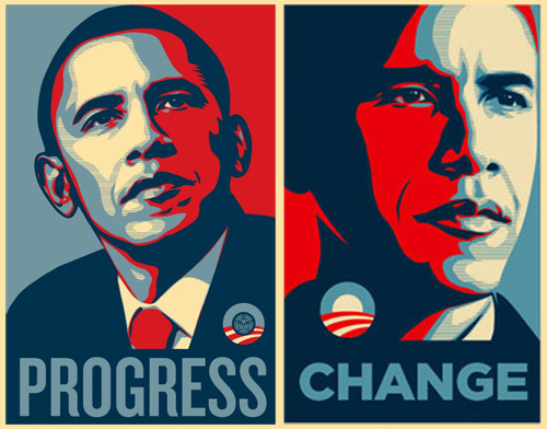 obama blue red michele roohani double poster