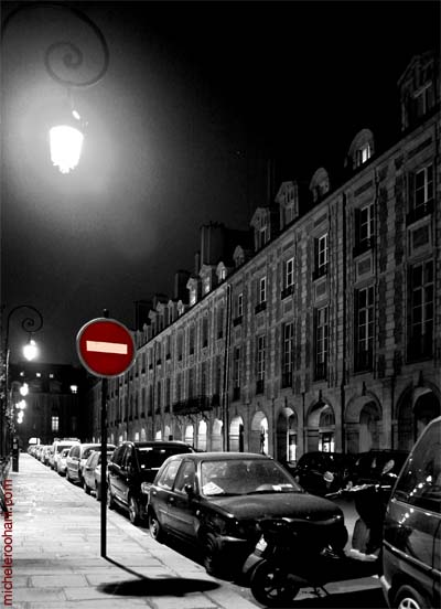 place des vosges at night stop sign michele roohani