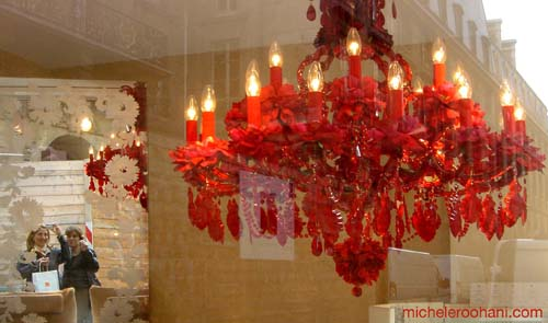 red chandelier michele roohani