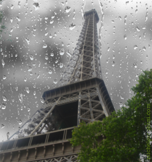 eiffel tower with rain drops michele roohani