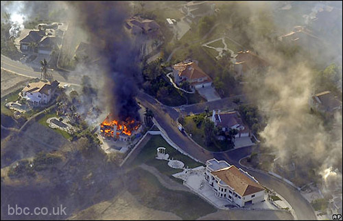 yorba linda mansions on fire