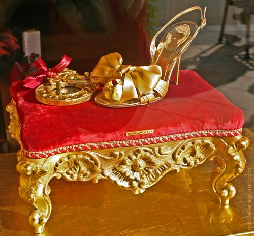 rene caovilla gold shoe michele roohani beverly hills cinderella