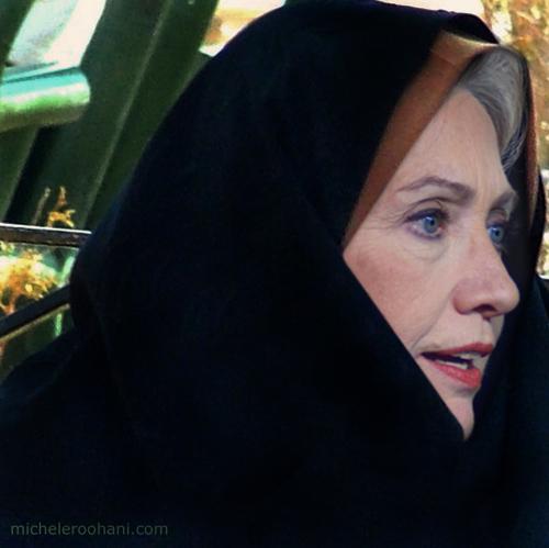 hillary clinton in black chador iran michele roohani scarf