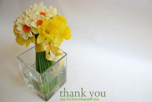 michele roohani narcissus thank you card