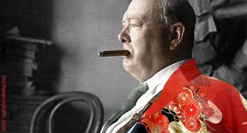 winston churchill red kimono michele roohani