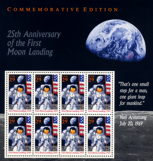 25th anniversary of first moon landing stamps michele roohani stamp collection