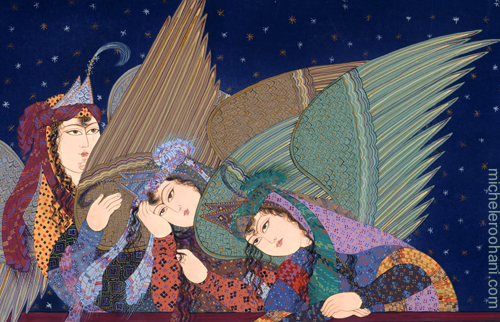 farah ossouli adam and eve painting three angels watching michele roohani