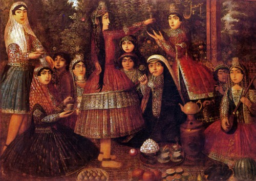 19th century painting perisan women around a samovar michele roohani