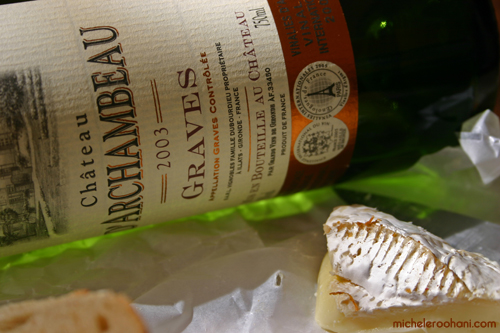 green bottle red wine graves camembert michele roohani