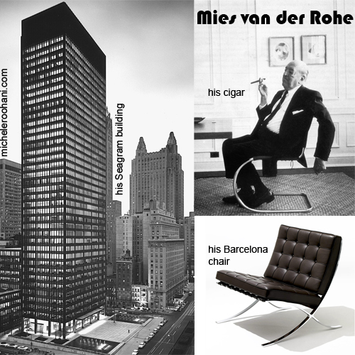 mies van der rohe cigar barcelona chair seagram building michele roohani