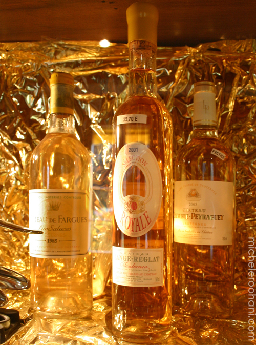 sauternes micheleroohani chateau de fargues golden bottles