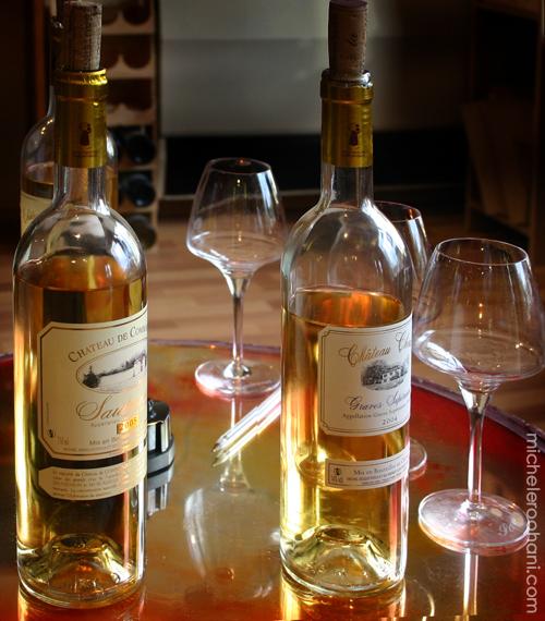 sauternes tasting bottles glasses michele roohani