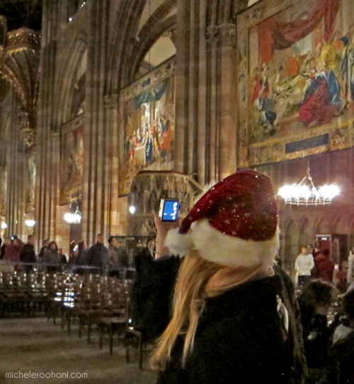 michele roohani strasbourg cathedral santa taking picture