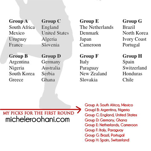 world cup 2010 draw and michele roohani picks