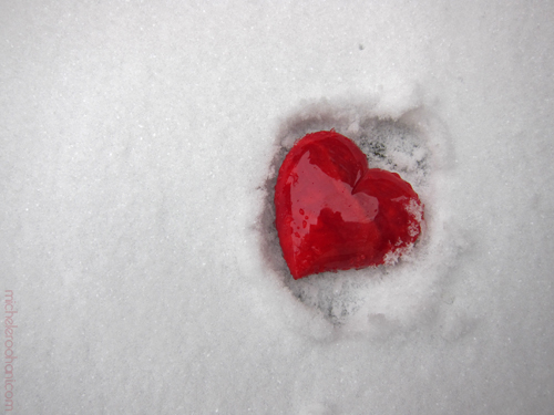 hot heart on snow valentine micheleroohani