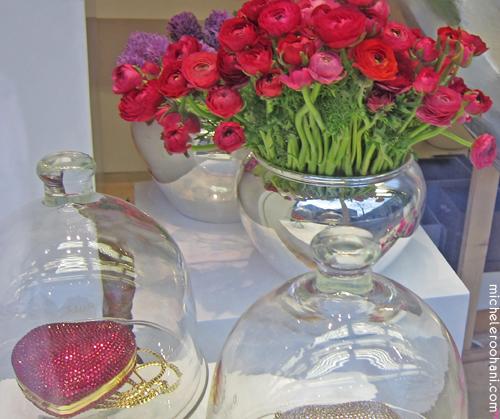 michele roohani rhinestone red heart ranunculus