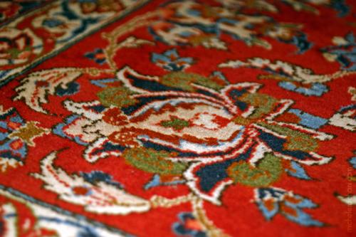 shah abbasi motif esphahan persian rug red michele roohani