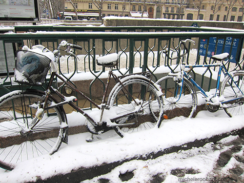 bikes snow paris michele roohani