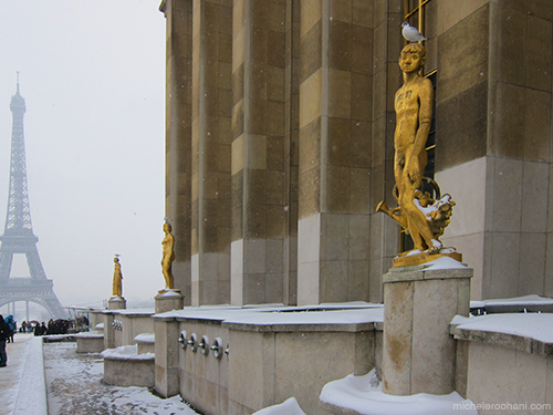 guilded statues chaillot paris eiffel michele harper