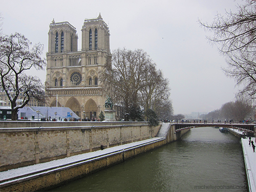 notre dame under snow paris michele roohani