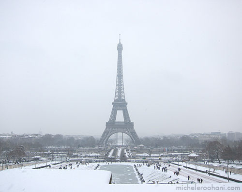 paris snow eiffel tower michele roohani