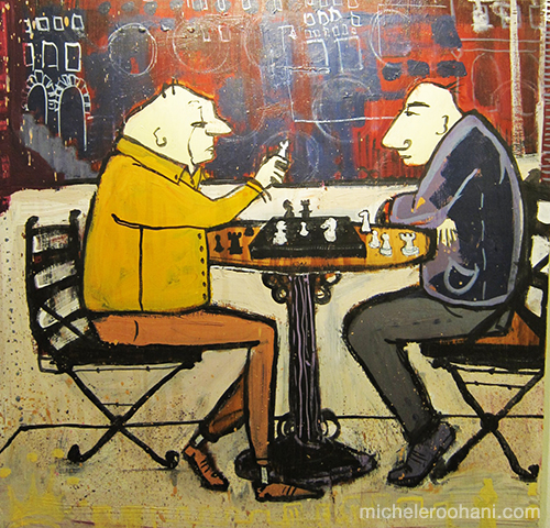 old men playing chess M+V michele roohani